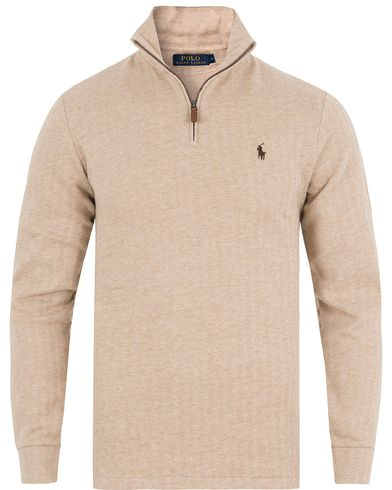 Polo Ralph Lauren Herringbone Half Zip Sweater Tan i gruppen Klær / Gensere / Zip-gensere hos Care of Carl (13192111r)