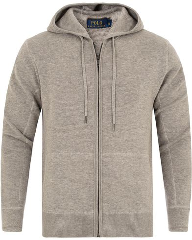 Polo Ralph Lauren Full Zip Cashmere Sweatshirt Fawn Grey Heather i gruppen Tröjor / Huvtröjor hos Care of Carl (13194611r)