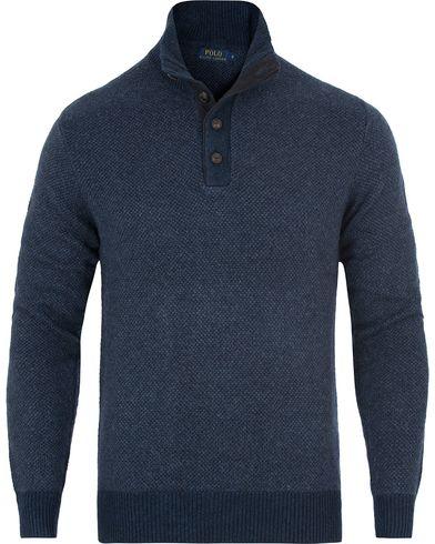 Polo Ralph Lauren Half Button Birdseye Sweater Navy i gruppen Klær / Gensere / Strikkede gensere hos Care of Carl (13195111r)