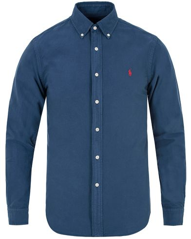 Polo Ralph Lauren Slim Fit Garment Dyed Oxford Shirt Seagate Blue i gruppen Klær / Skjorter / Oxfordskjorter hos Care of Carl (13195611r)