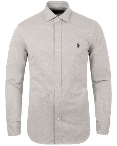 Polo Ralph Lauren Slim Fit Herringbone Knitted Shirt Andover Heather i gruppen Skjorter / Pikéskjorter hos Care of Carl (13196611r)