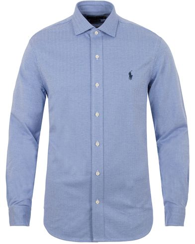 Polo Ralph Lauren Slim Fit Herringbone Knitted Shirt Made Stone Blue i gruppen Kläder / Skjortor / Pikéskjortor hos Care of Carl (13196711r)