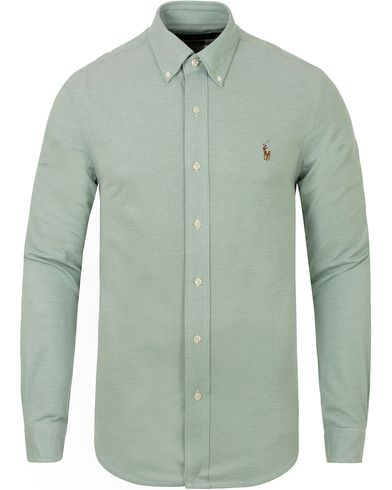 Polo Ralph Lauren Oxford Knit Shirt Green/White i gruppen Skjortor / Pikéskjortor hos Care of Carl (13196911r)