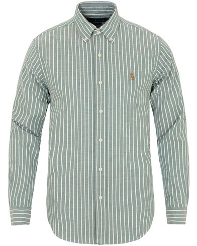 Polo Ralph Lauren Slim Fit Stretch Oxford Stripe Shirt Green/White i gruppen Skjortor / Oxfordskjortor hos Care of Carl (13198811r)