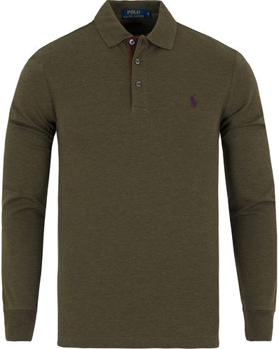 Polo Ralph Lauren Slim Fit Long Sleeve Suede Placket Polo Heather i gruppen Kläder / Pikéer / Långärmade pikéer hos Care of Carl (13199011r)