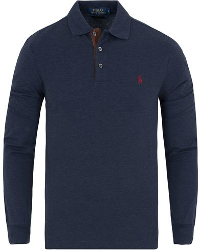 Polo Ralph Lauren Slim Fit Long Sleeve Suede Placket Polo Navy Heather i gruppen Kläder / Pikéer / Långärmade pikéer hos Care of Carl (13199111r)