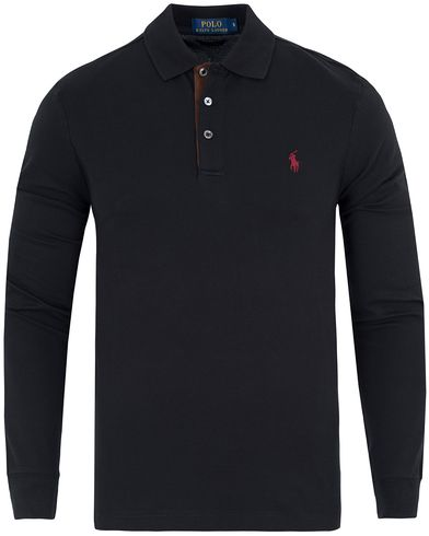 Polo Ralph Lauren Slim Fit Long Sleeve Suede Placket Polo Polo Black i gruppen Pikéer / Långärmade pikéer hos Care of Carl (13199211r)