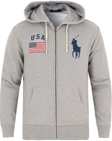 Polo Ralph Lauren USA Full Zip Hoodie Andover Heather i gruppen Kläder / Tröjor / Huvtröjor hos Care of Carl (13200811r)