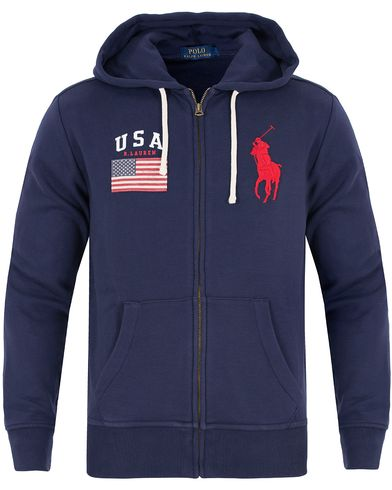 Polo Ralph Lauren USA Full Zip Hoodie French Navy i gruppen Klær / Gensere / Hettegensere hos Care of Carl (13200911r)
