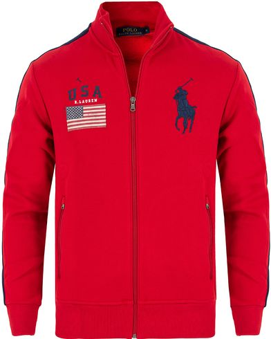 Polo Ralph Lauren USA Track Jacket RL Red i gruppen Gensere / Zip-gensere hos Care of Carl (13201211r)