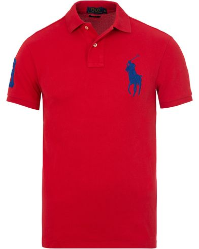 Polo Ralph Lauren Slim Fit Big Pony Polo RL Red/Active Blue i gruppen Kläder / Pikéer / Kortärmade pikéer hos Care of Carl (13205211r)