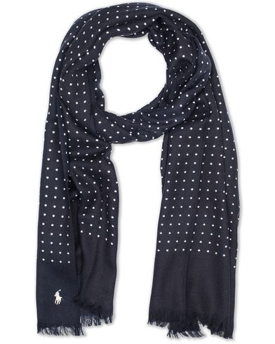 Polo Ralph Lauren Wool Dot Scarf Navy Cream  i gruppen Accessoarer / Scarves hos Care of Carl (13207710)