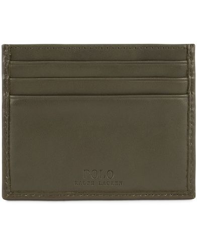 Polo Ralph Lauren Leather Credit Card Holder Olive Green  i gruppen Assesoarer / Lommebøker / Kortholdere hos Care of Carl (13208710)