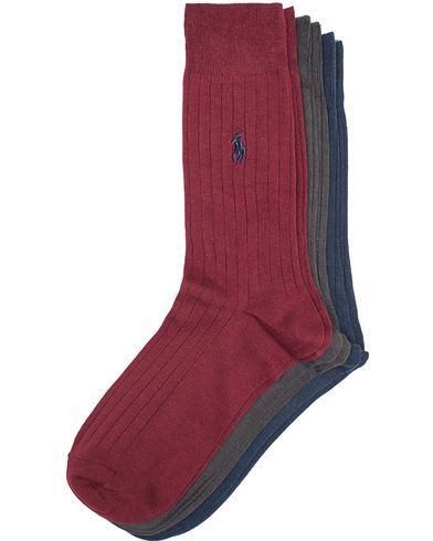 Polo Ralph Lauren 3-Pack Egyptian Cotton Sock Wine/Grey/Navy i gruppen Klær / Undertøy / Sokker hos Care of Carl (13210011r)