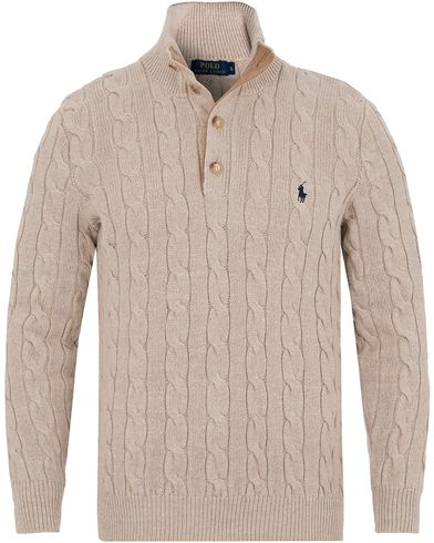 Polo Ralph Lauren Knitted Cable Tussah Silk Half Button Oatmeal Heather i gruppen Design A / Gensere / Strikkede gensere hos Care of Carl (13210311r)