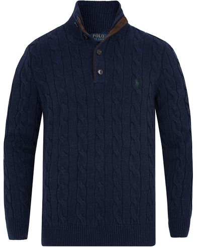 Polo Ralph Lauren Knitted Cable Tussah Silk Half Button Navy Heather i gruppen Klær / Gensere / Strikkede gensere hos Care of Carl (13210411r)