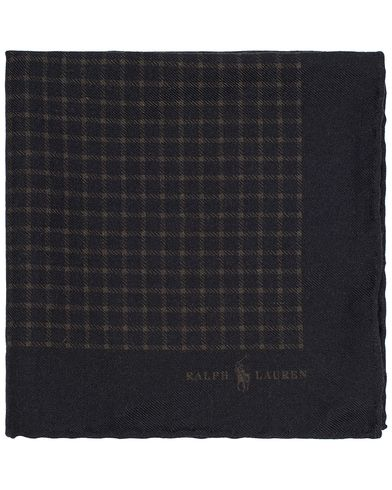 Polo Ralph Lauren Print Check Pocket Square Black/Olive  i gruppen Assesoarer / Lommetørklær hos Care of Carl (13211910)