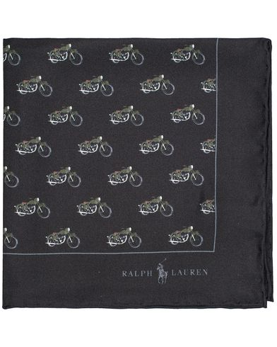 Polo Ralph Lauren Motorcycle Print Pocket Square Black  i gruppen Assesoarer / Lommetørklær hos Care of Carl (13212010)