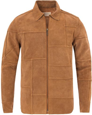 Nudie Jeans Criss Patch Suede Shirt Cognac i gruppen Jackor / Skinnjackor hos Care of Carl (13218011r)