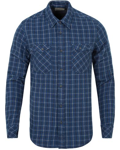 Nudie Jeans Gunnar Rope Twill Check Shirt Indigo i gruppen Skjortor / Casual skjortor hos Care of Carl (13218311r)