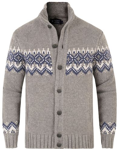 Hackett Wool/Cashmere Fairisle Button Sweater Light Grey i gruppen Kläder / Tröjor / Stickade tröjor hos Care of Carl (13220711r)