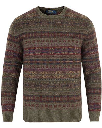 Polo Ralph Lauren Knitted Wool Sweater Olive Fairisle i gruppen Tr�jor / Stickade Tr�jor hos Care of Carl (13222911r)