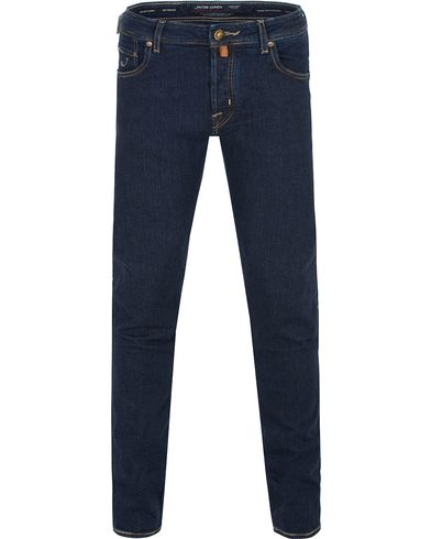 Jacob Cohën 622 Slim Jeans Dark Blue/Check Brown Label i gruppen Jeans / Smala jeans hos Care of Carl (13233011r)