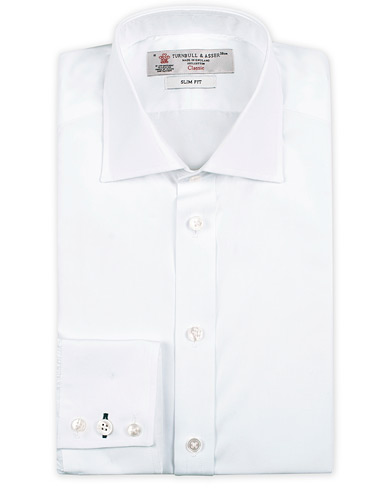 Turnbull & Asser Slim Fit Poplin Shirt White i gruppen Kläder / Skjortor / Formella skjortor hos Care of Carl (13237111r)