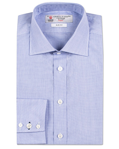 Turnbull & Asser Slim Fit Poplin End on End Shirt Blue i gruppen Skjortor / Businesskjortor hos Care of Carl (13237411r)