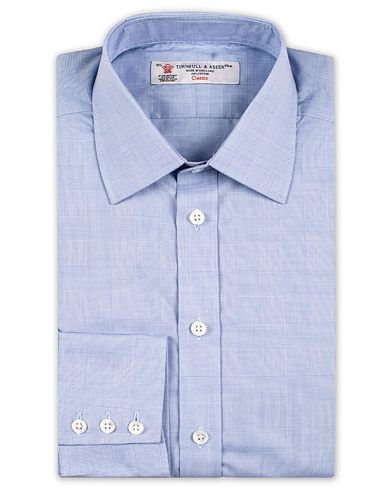 Turnbull & Asser Standard Fit Poplin Glencheck Shirt Blue i gruppen Klær / Skjorter hos Care of Carl (13237611r)