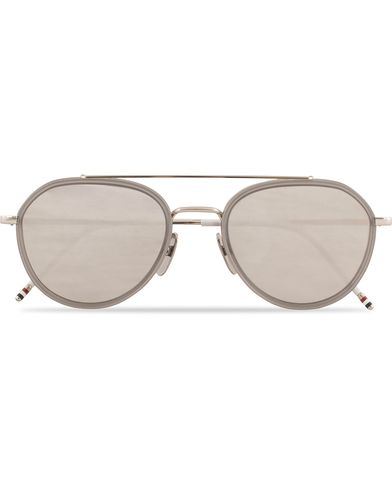 Thom Browne TB-801 Sunglasses Shiny Silver/Dark Grey  i gruppen Solglasögon / Runda solglasögon hos Care of Carl (13238810)