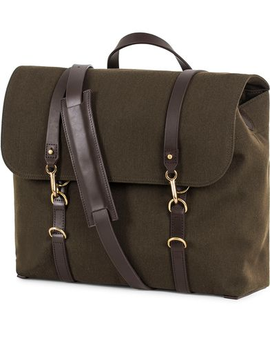 Mismo M/S Satchel Nylon Messenger Bag Pine Green/Dark Brown  i gruppen Väskor / Axelremsväskor hos Care of Carl (13240410)