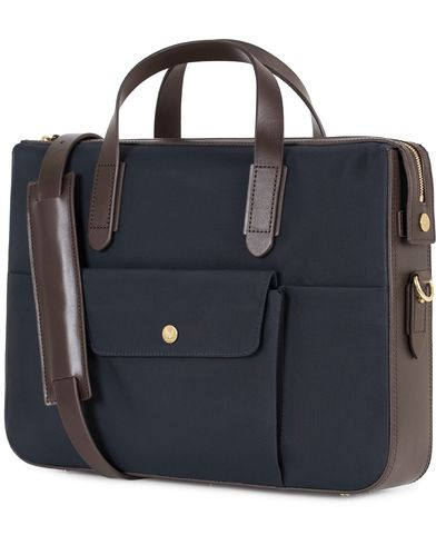 Mismo M/S Nylon Briefcase Navy/Dark Brown  i gruppen Väskor / Portföljer hos Care of Carl (13241410)