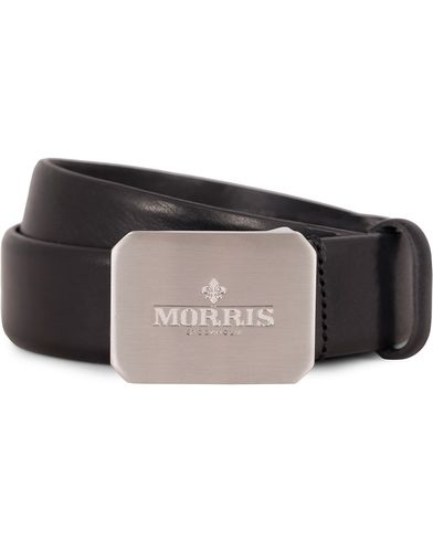 Morris Plated Logo Leather 3,5 cm Belt Black i gruppen Assesoarer / Belter hos Care of Carl (13245911r)