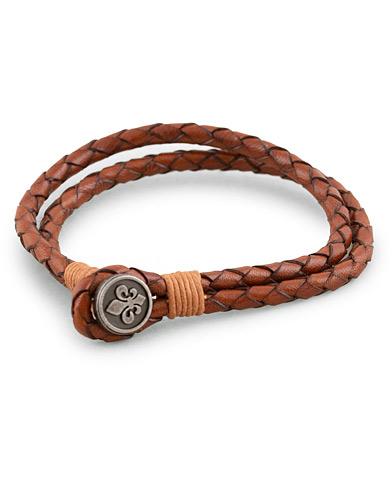 Morris Braided Logo Bracelet Cognac  i gruppen Accessoarer / Armband hos Care of Carl (13246210)