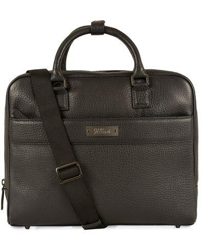 Oscar Jacobson Grained Leather Computerbag Black  i gruppen Vesker / Dokumentvesker hos Care of Carl (13247310)