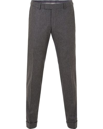 Oscar Jacobson Dean Turn Up Flannel Trousers Dark Grey i gruppen Bukser / Flanellbukser hos Care of Carl (13253911r)