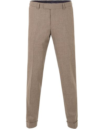 Oscar Jacobson Dean Turn Up Flannel Trousers Camel Brown i gruppen Klær / Bukser / Flanellbukser hos Care of Carl (13254111r)