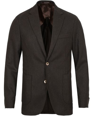 Oscar Jacobson Einar Flannel Blazer Dark Brown i gruppen Design A / Dressjakker / Enkeltspente dressjakker hos Care of Carl (13254211r)