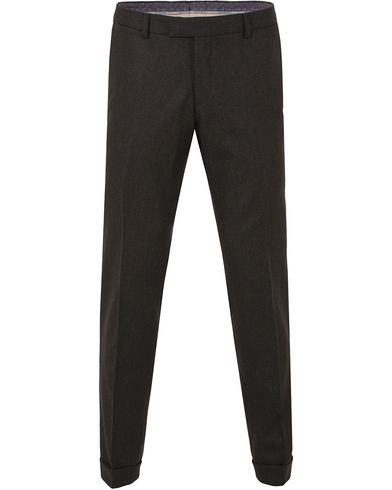 Oscar Jacobson Dean Turn Up Flannel Trousers Dark Brown i gruppen Kläder / Byxor / Flanellbyxor hos Care of Carl (13254311r)