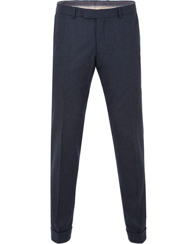Oscar Jacobson Dean Turn Up Flannel Trousers Navy i gruppen Bukser / Flanellbukser hos Care of Carl (13254511r)
