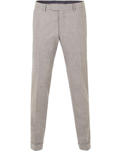 Oscar Jacobson Dean Turn Up Flannel Trousers Light Grey i gruppen Design B / Kläder / Byxor / Flanellbyxor hos Care of Carl (13254611r)