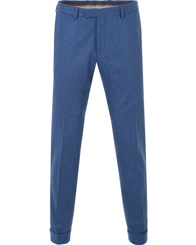 Oscar Jacobson Dean Turn Up Flannel Trousers Light Blue i gruppen Byxor / Uddabyxor hos Care of Carl (13254711r)