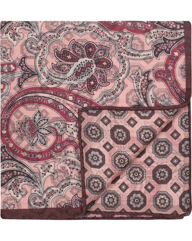 Oscar Jacobson Twofaced Paisley/Medallion Pocket Square Pink/Red  i gruppen Accessoarer / Näsdukar hos Care of Carl (13257110)