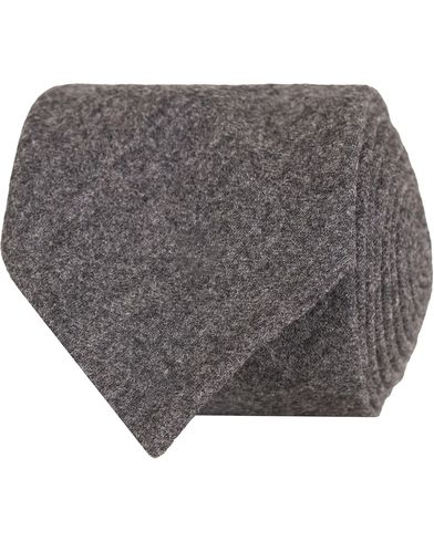Oscar Jacobson Flannel Roll Edge 8,5 cm Tie Dark Grey  i gruppen Accessoarer / Slipsar hos Care of Carl (13257910)