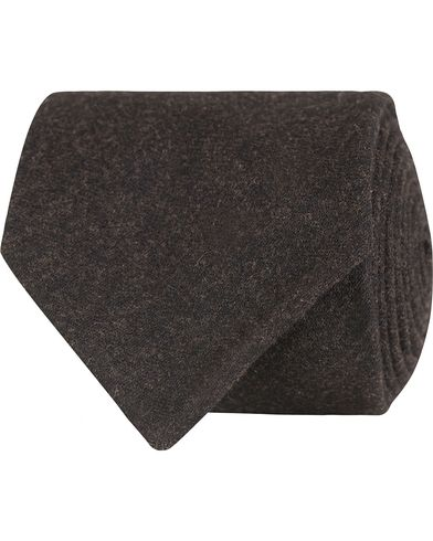 Oscar Jacobson Flannel Roll Edge 8,5 cm Tie Dark Brown  i gruppen Accessoarer / Slipsar hos Care of Carl (13258010)