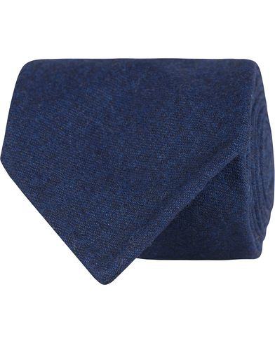 Oscar Jacobson Flannel Roll Edge 8,5 cm Tie Navy  i gruppen Accessoarer / Slipsar hos Care of Carl (13258110)