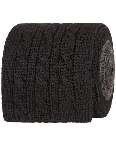 Oscar Jacobson Cable Knitted 7 cm Tie Black/Grey  i gruppen Accessoarer / Slipsar hos Care of Carl (13258610)