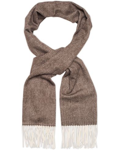 Oscar Jacobson Herringbone Wool Scarf Brown  i gruppen Accessoarer / Halsdukar hos Care of Carl (13259210)