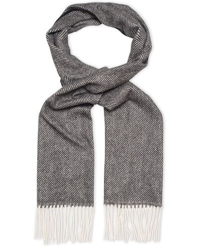 Oscar Jacobson Herringbone Wool Scarf Black/Grey  i gruppen Accessoarer / Halsdukar hos Care of Carl (13259310)